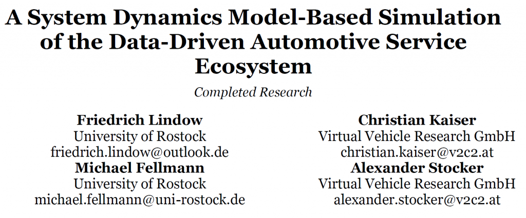 "paper entitled ""A System Dynamics Model-Based Simulation of the Data-Driven Automotive Service Ecosystem"" accepted for AMCIS 2021"